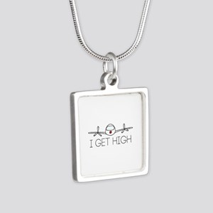 'I Get High' Silver Square Necklace