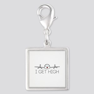 'I Get High' Silver Square Charm