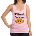 Will Work For Pizza Racerback Tank Top
