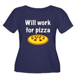 Will Work For Pizza Women's Plus Size Scoop Neck D