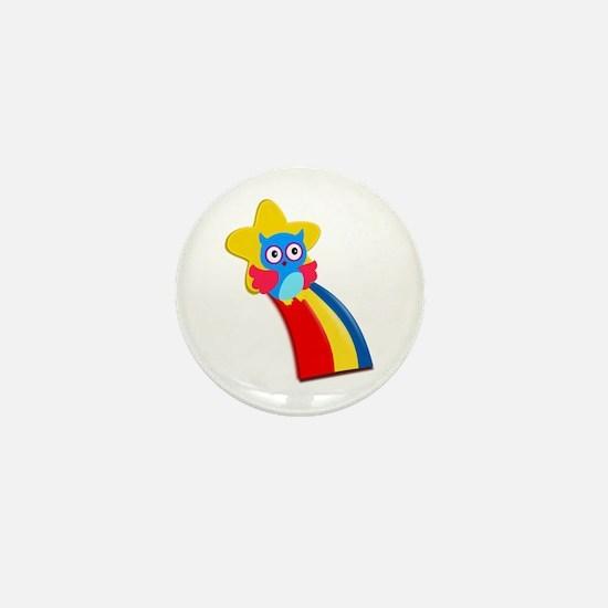 Rainbow Owl Mini Button