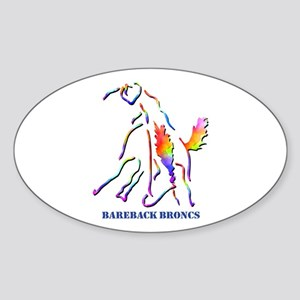 Bareback Broncs Oval Sticker