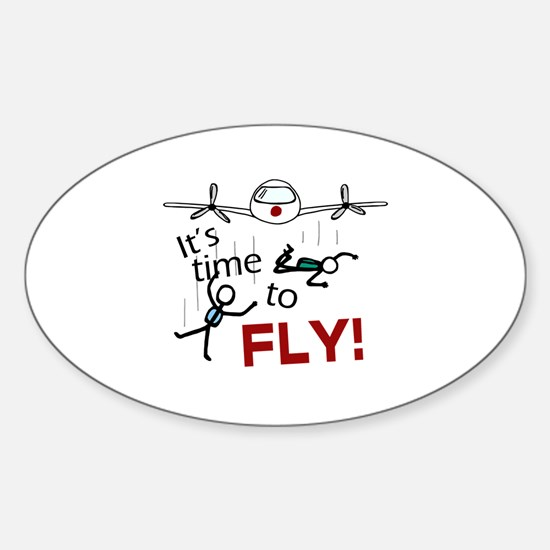 'Time To Fly' Sticker (Oval)