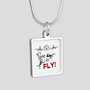 'Time To Fly' Silver Square Necklace