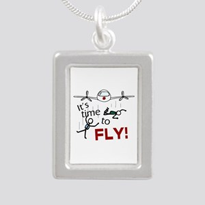 'Time To Fly' Silver Portrait Necklace
