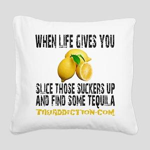 LEMONS - WHITE Square Canvas Pillow
