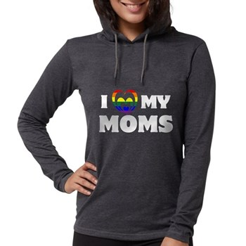 I Heart my Moms LGBT Womens Hooded Shirt