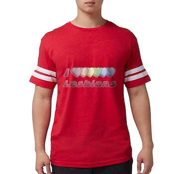 I Rainbow Heart Lesbians Mens Football Shirt