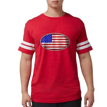 Oval American Flag Mens Football Shirt