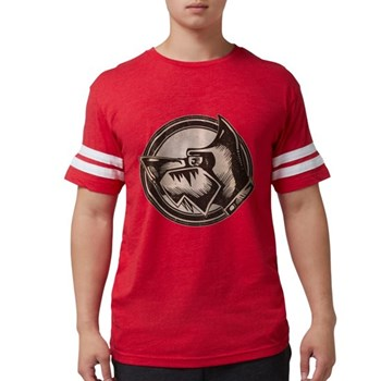 Distressed Wild Dog Stamp Mens Football Shirt