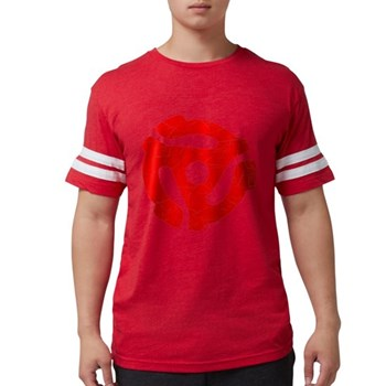 Red Distressed 45 RPM Adapter Mens Football Shirt