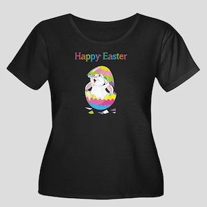 Happy Easter Women's Plus Size Scoop Neck Dark T-S