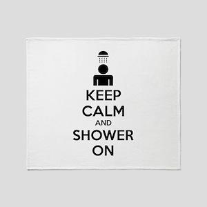 Keep Calm And Shower On Stadium Blanket