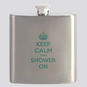 Keep Calm And Shower On Flask