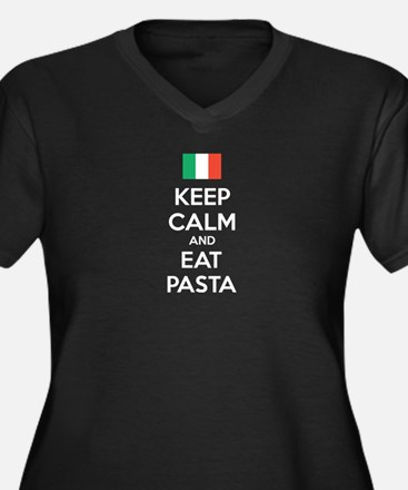 Keep Calm And Eat Pasta Women's Plus Size V-Neck D