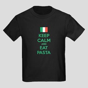 Keep Calm And Eat Pasta Kids Dark T-Shirt