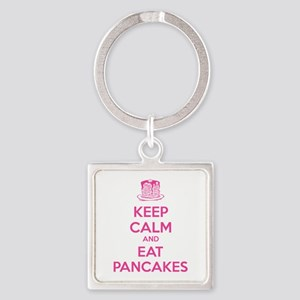 Keep Calm And Eat Pancakes Square Keychain