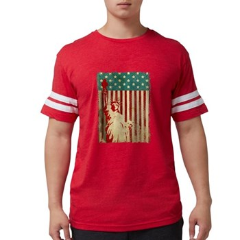 Vintage Style American Flag Mens Football Shirt