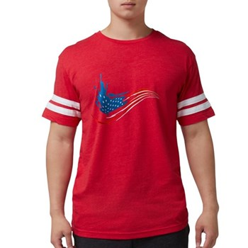 Abstract Paint American Flag Mens Football Shirt