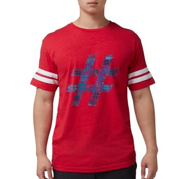 Blue Hashtag Cloud Mens Football Shirt