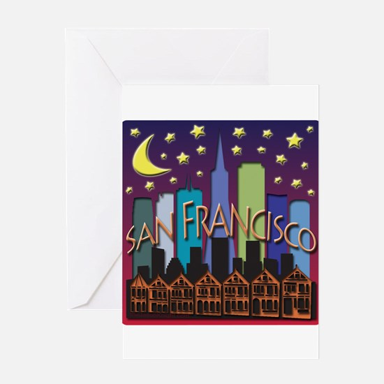 San Francisco Skyline Mega Color Greeting Card