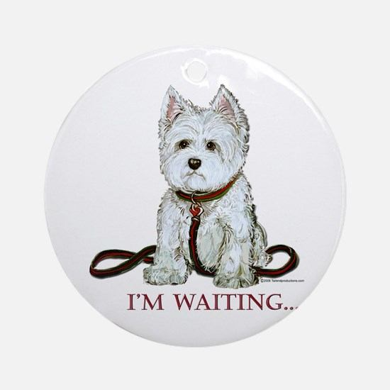 Westie Walks Ornament (Round)