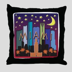 Miami Skyline Mega Color Throw Pillow
