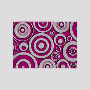 Pink Circles 5'x7'Area Rug