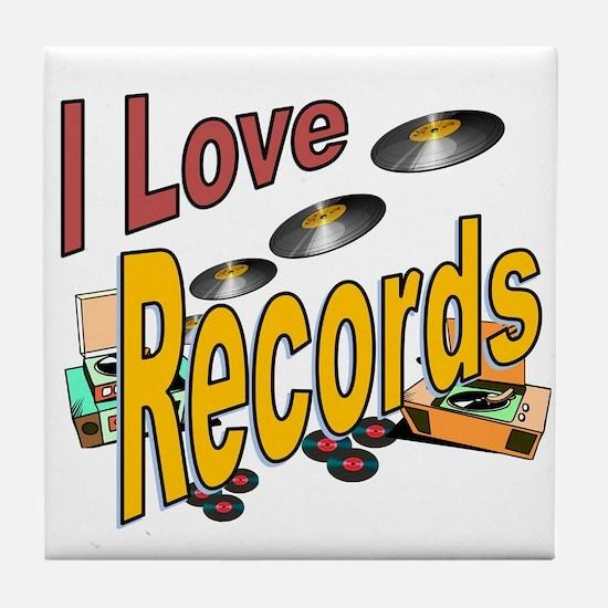 I Love Records Tile Coaster
