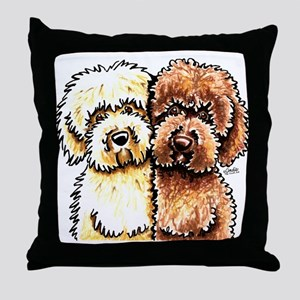Cream Chocolate Labradoodle Throw Pillow