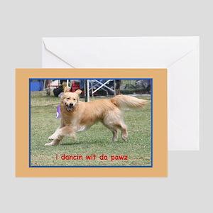Golden Retriever Birthday Card Dancing