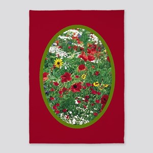 RED WILDFLOWER 5'x7'Area Rug