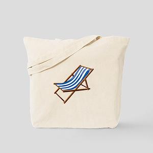 Beach chair blue white Tote Bag