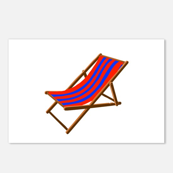 Blue and red wooden beach chair Postcards (Package
