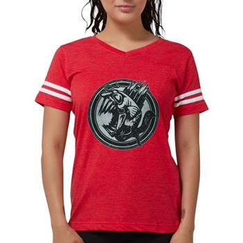 Distressed Wild Piranha Stamp Womens Football Shir