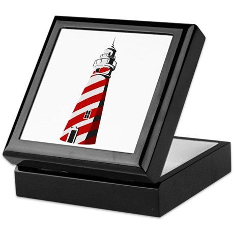 Red and white spiral lighthouse Keepsake Box