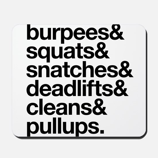 Crossfit Essentials Black Text Mousepad