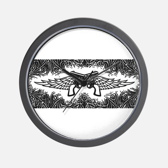 Pistols and Wings Wall Clock