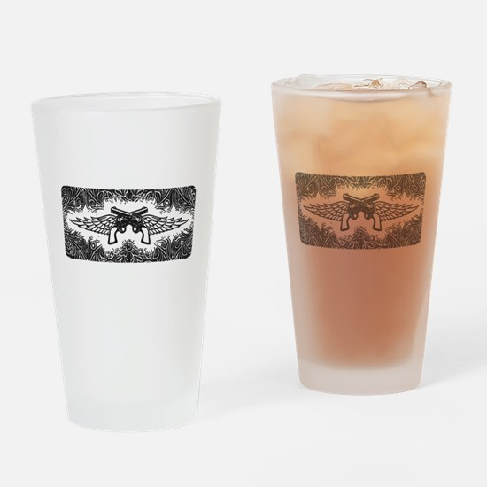 Pistols and Wings Drinking Glass