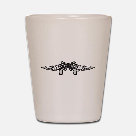 Pistols and Wings Shot Glass