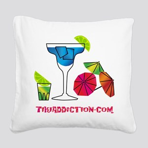 HAPPY HOUR - WHITE Square Canvas Pillow