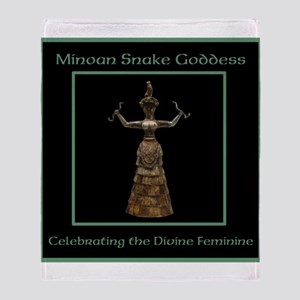 Minoan Snake Goddess Throw Blanket