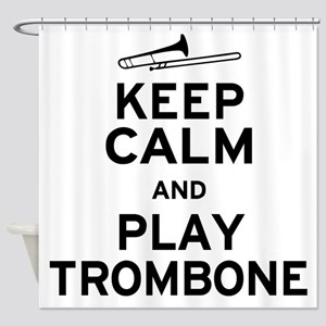 Keep Calm Trombone Shower Curtain