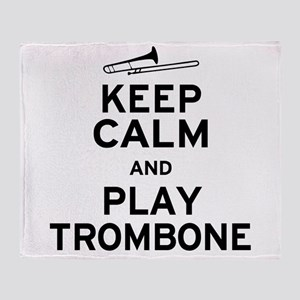keep Calm Trombone Throw Blanket