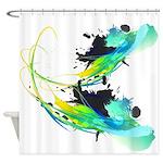Teal Abstract Paint Splatter Shower Curtain