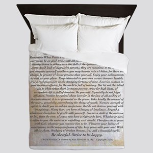 The Desiderata Poem by Max Ehrmann Queen Duvet
