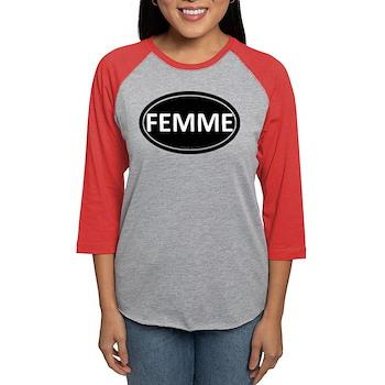 FEMME Black Euro Oval Womens Baseball Tee