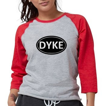 DYKE Black Euro Oval Womens Baseball Tee