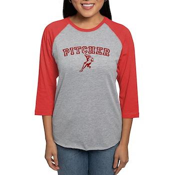 Pitcher - Red Womens Baseball Tee