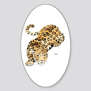 Jaguar Big Cat Sticker (Oval)